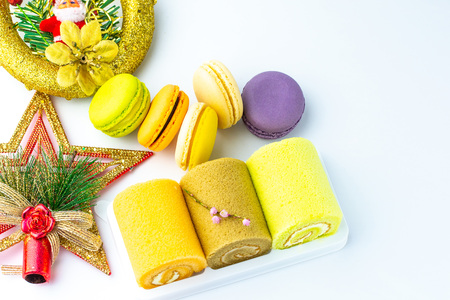 Colorful french macarons on white background. Stock Photo