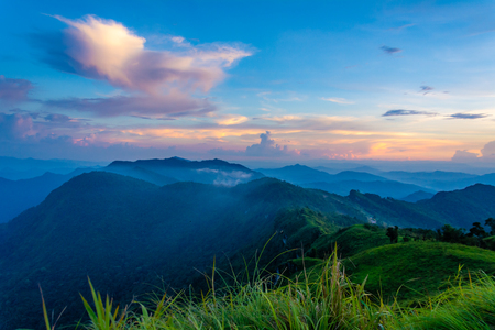 Beautiful mountain landscape in the Phu Chi fa National Park in Chiang Rai Province, Thailand.