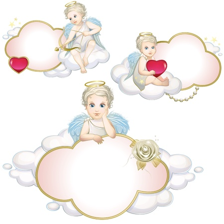 14 february: Angels and clouds set Illustration