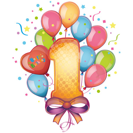 1 생일 축하 풍선 스톡 콘텐츠 - 22406822