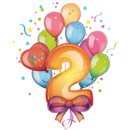 2 Happy Birthday balloons Illustration