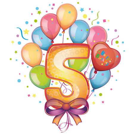 5 Happy Birthday balloons Vector