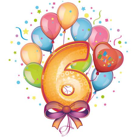 6 Happy Birthday balloons Vector