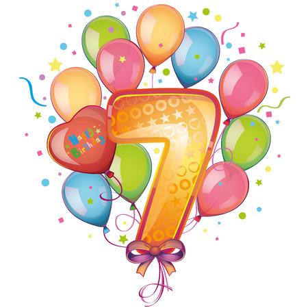 7 Happy Birthday Ballons Standard-Bild - 22406827