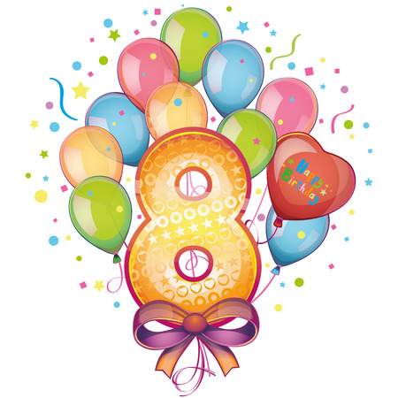 8 Happy Birthday balloons Vector