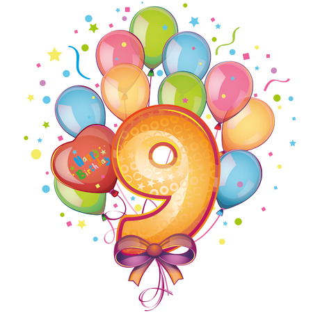 happy birthday balloons: 9 Happy Birthday balloons