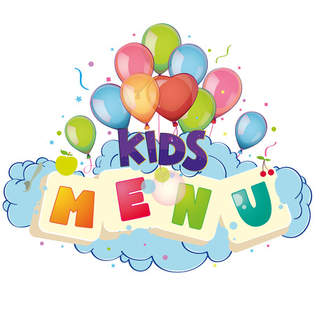 Kids menu balloons Vector