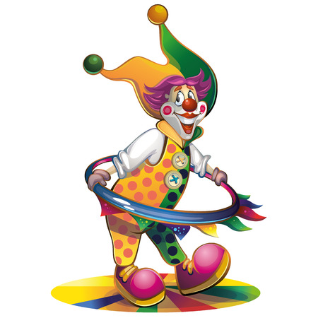 funny mask: clown with a hoop Illustration