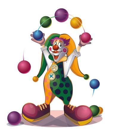 representations: clown juggles balls