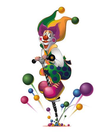clown jumps Vector