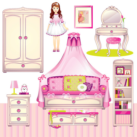 nursery room: Girls room set Illustration