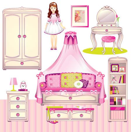 toy chest: Girls room set Illustration