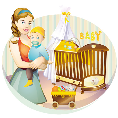 maternity leave: Mother and baby Illustration