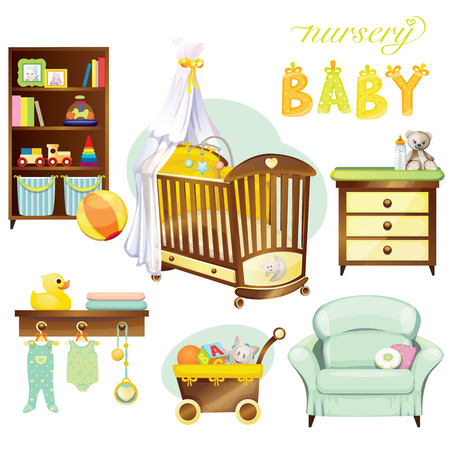 wood chair: Sistema del beb� Nursery Vectores