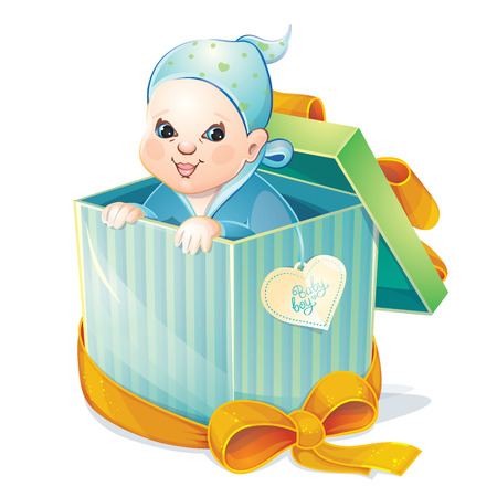baby open present: baby boy in box