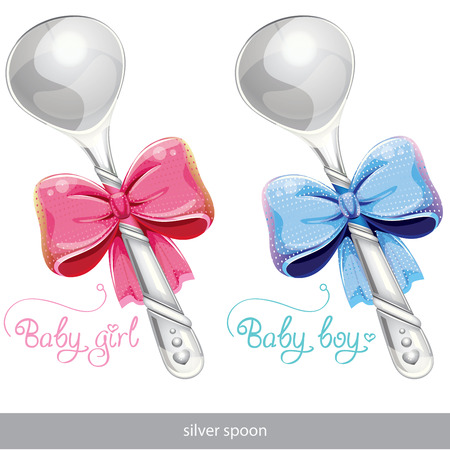 it s a girl: silver spoon set Illustration