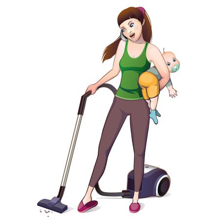 maternity leave: mother and baby for cleaning