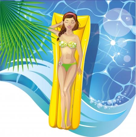 repose: Girl in the pool Illustration