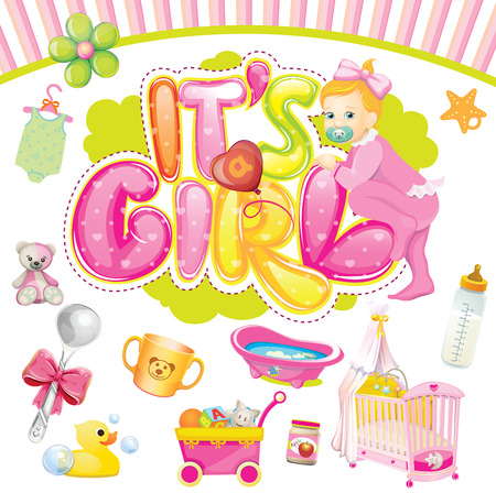 it s a girl: Baby girl set  It s a girl Illustration