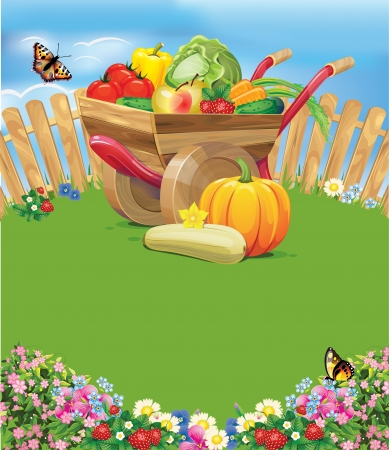 wheelbarrow with vegetables Vector