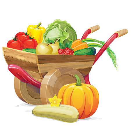 handcart: wheelbarrow with vegetables and fruits