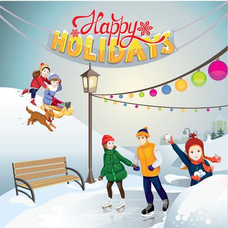 rink: happy holidays Illustration
