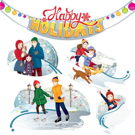 sledge dog: happy holidays set