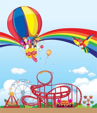 familia animada: globo en el parque de atracciones