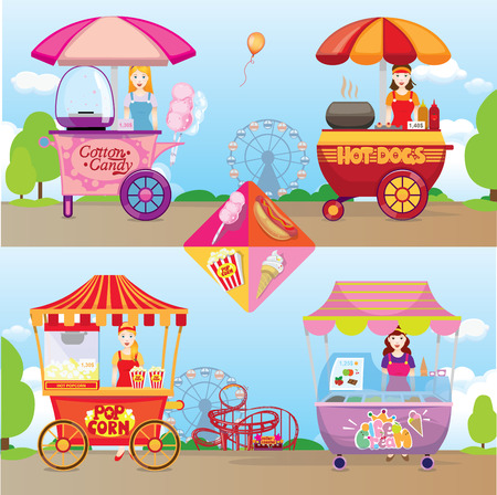 bancarella: hot dog, pop corn, gelati, zucchero filato set Vettoriali