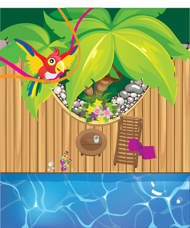 Beach pool and a parrot Vector