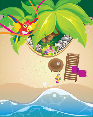 table top: beach view from above and a parrot