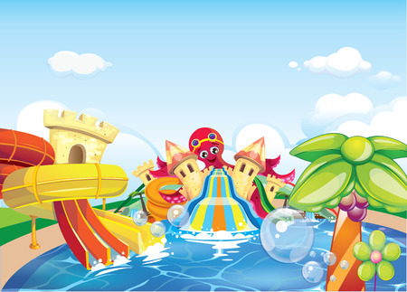 octopus water park Illustration