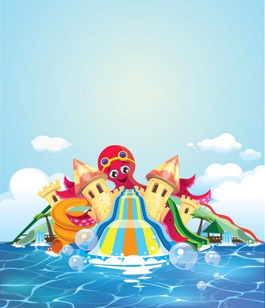 octopus water park Illustration