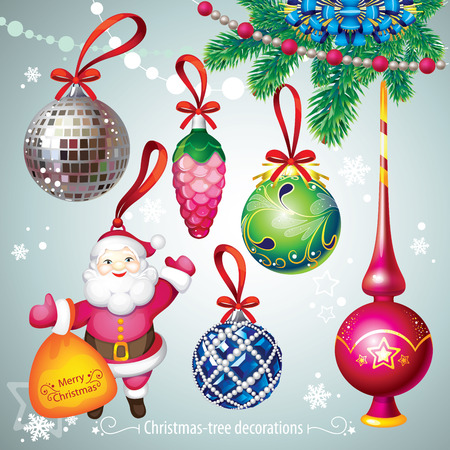christmastree: Christmas-tree decorations set Illustration