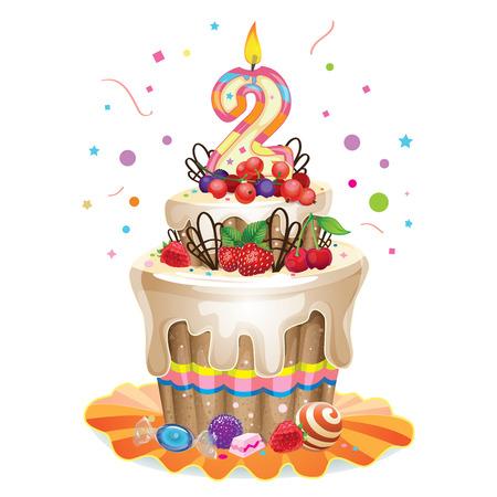 burn out: Happy birthday cake 2 Stock Illustratie