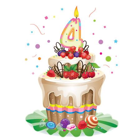 4 star: Happy Birthday cake 4 Illustration