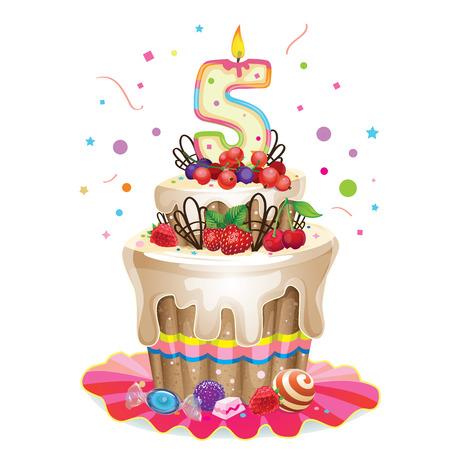 pastel feliz cumplea�os: Torta de cumplea�os feliz 5 Vectores