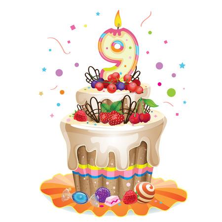 blueberry pie: Happy Birthday cake 9 Illustration