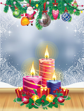 frosted: Christmas candles and window Illustration