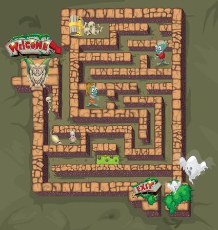 Labyrinth des Grauens Standard-Bild - 53260084
