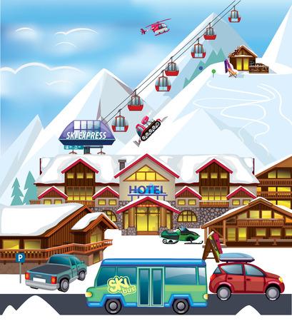 스키 리조트 일러스트