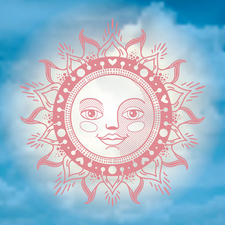 ornament sun face on the background of the sky
