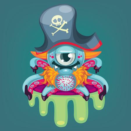 Cartoon pirate virus Illustration