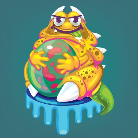 cartoon fat virus Illustration