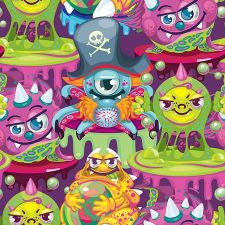 seamless pattern cartoon virus Illustration