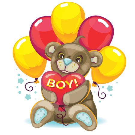 inscription: Little baby brown bear with a balloon heart. inscription boy! Design element for the newborn. Illustration