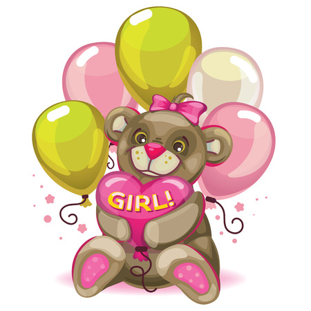 Little baby brown bear with a balloon heart. inscription girl! in pink. Postcard and design element for the newborn.