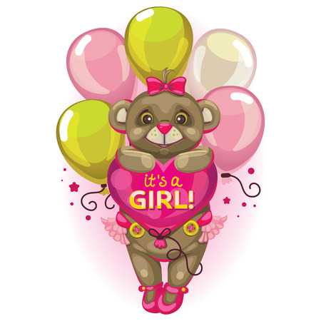 little baby brown bear with a balloon heart. inscription its a girl! in pink. Postcard and design element for the newborn.