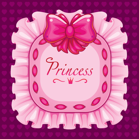 heart with crown: Frame with a bow and ribbon. pink pillow with the word Princess. decoration for the little girl. in the shape of a rectangle in the background with hearts Illustration
