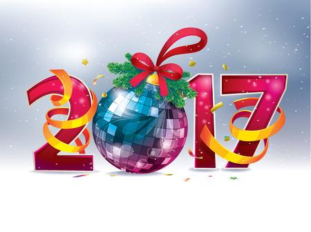 2017 guten Rutsch ins Neue Jahr. Figuren und Weihnachtskugel. festliche Party Standard-Bild - 68480295